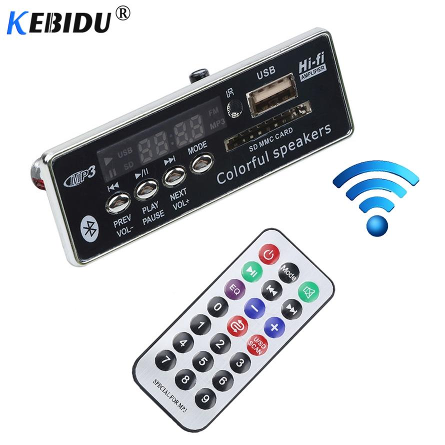 Kebidu Car Bluetooth MP3 Decoder Board Decoding Player Module Support FM Radio USB/SD LCD Screen Remote Controller