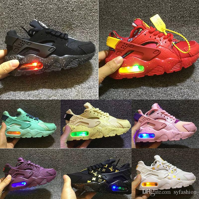 2018 Fashion Nike Air Huarache Flash iluminado Kids Air Huarache niños corriendo zapatos infantiles Huaraches Outdoor Toddler Athletic Boy Girls