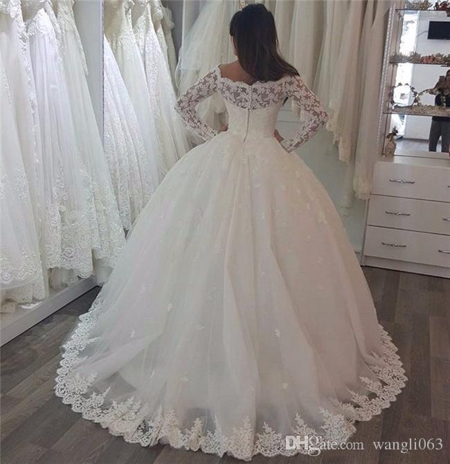Vintage dentelle perlée Plus Size bal robe de mariage d'automne de l'épaule Ivoire Tulle Applique Custom Made Robes de mariée