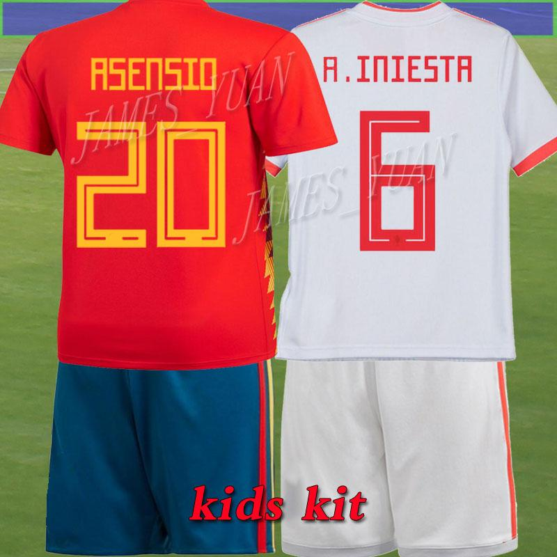 396ba332f ... purchase kids kit children 2018 world cup away home spain pique soccer  jersey shirt isco 20