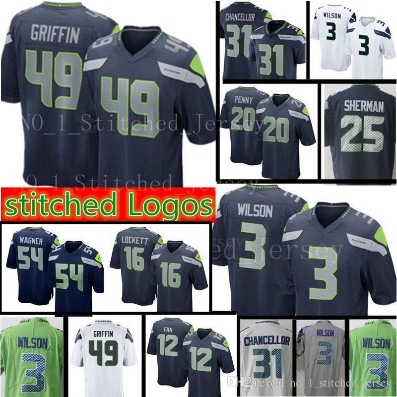 Compre Novo 3 Russell Wilson Seattle Seahawks 49 Homens Shaquem Griffin  Jersey 31 Kam Chancellor 12 Fan 25 Richard Sherman Jerseys De Heysports ca4458486fbf0