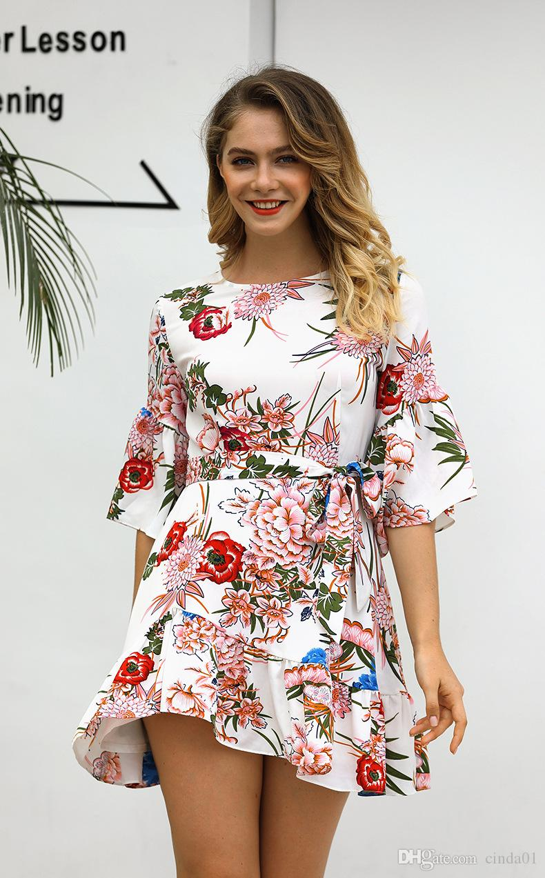 ea849ae3dbb Womens Floral Printed Mini Dresses Female Short Sleeve Crew Neck Summer  Casual Dresses With Sashes Women Dressing Styles Black Cocktail Party Dress  From ...
