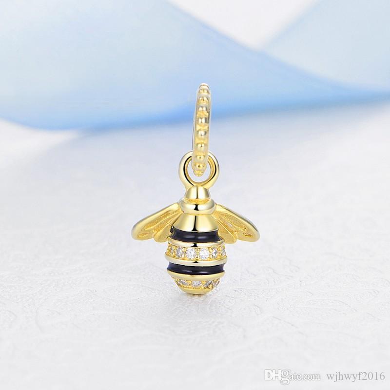 2018 Été Nouveau 100% Authentique 925 Sterling Silver Queen Bee Pendentif Charme Perles Fit Pandora Charmes Bracelet Diy Fabrication De Bijoux