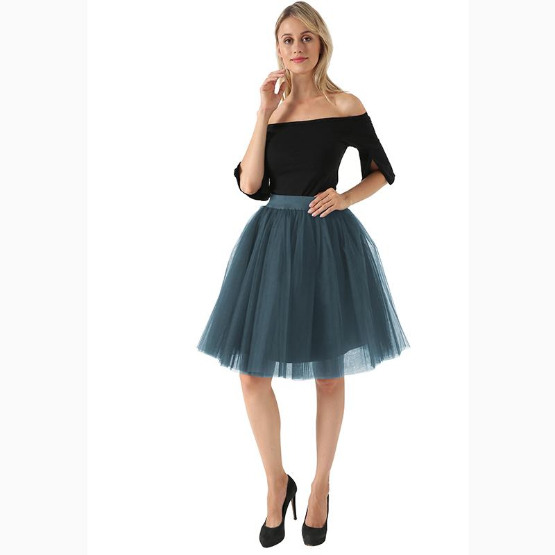 fe949f80dfcfa 5 Layers Midi A Line Tutu Tulle Skirt High Waist Pleated Skater Skirts  Womens Vintage Lolita Ball Gown Summer 2018 Saias Jupe Online with  $33.63/Piece on ...