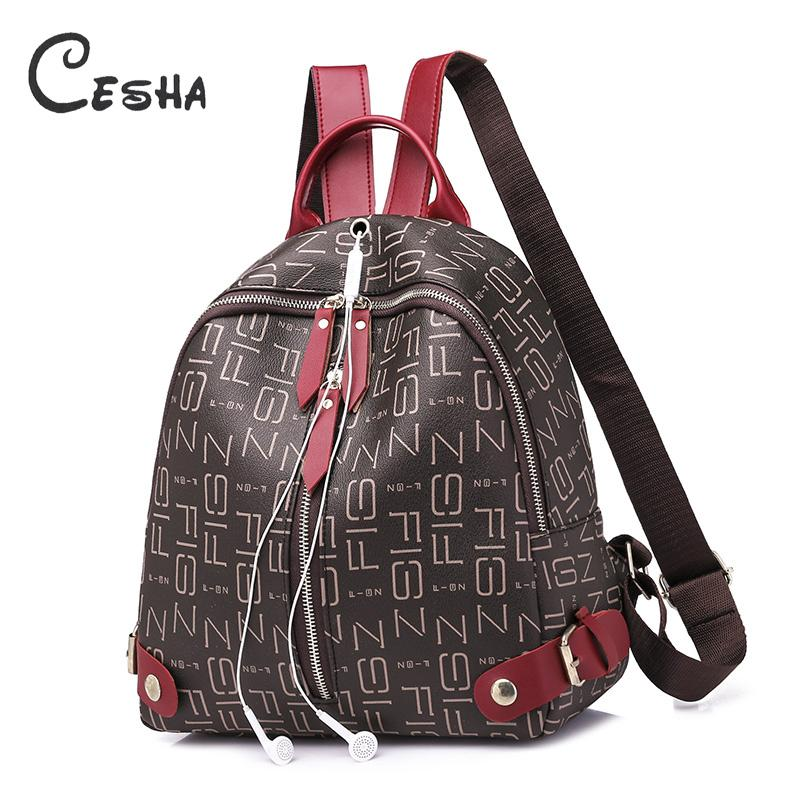 f1cc9e62c9dd Cesha Fashion Casual Lette Pattern Women's Backpack High Quality Waterproof  PVC School Shopping Backpack for Girls Teenagers