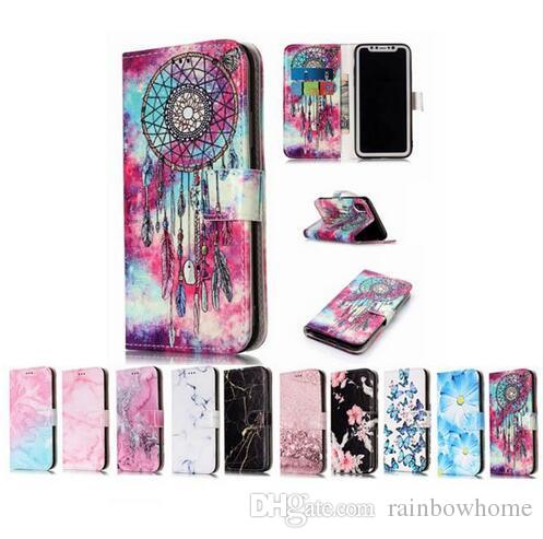 Marble Flower Wallet holder flip Leather Case for iphone X XS Max XR 8 7 6S Plus S7 S8 S9 Plus Note 8 J3 J5 J7 A3 A5 A8 2017