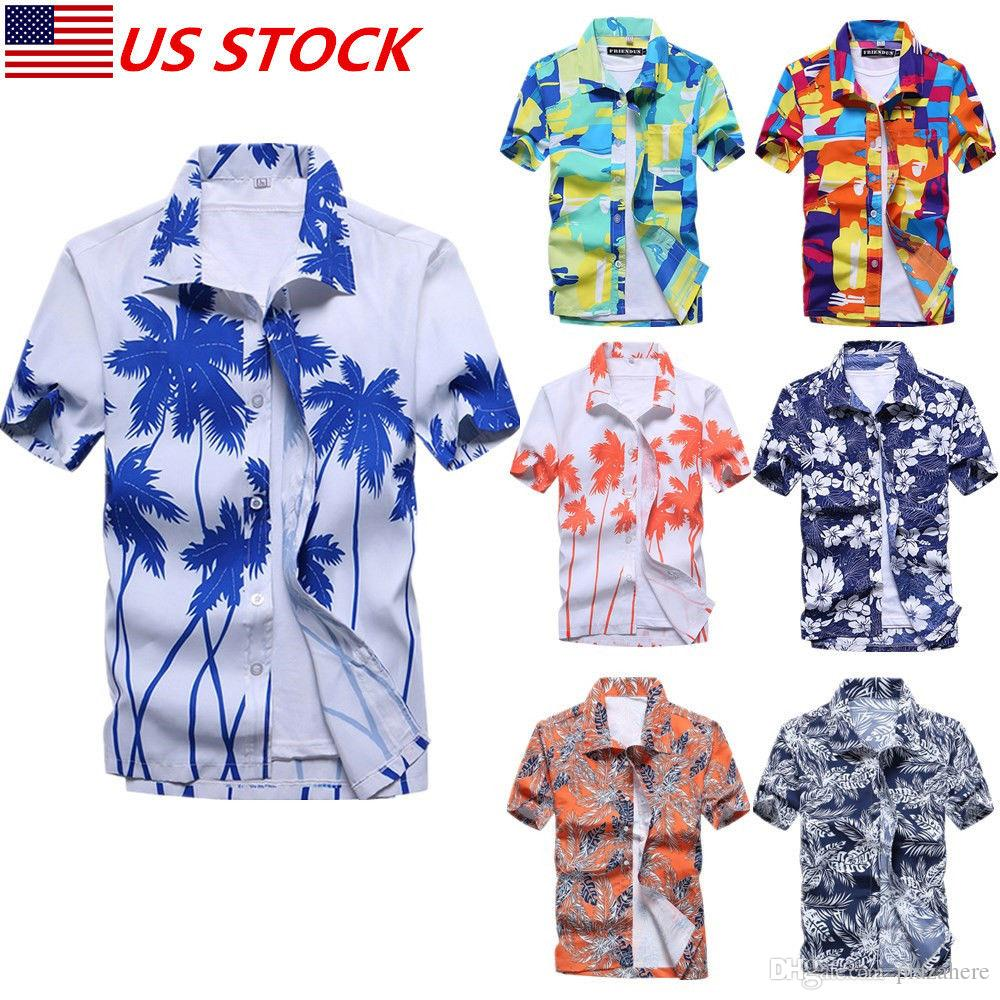 b3b5d7c94f6 2019 US SHIPPING M 3XL Brand New Men S Hawaiian Shirt Summer Floral Printed  Beach Short Sleeve Tops Blouse From Plazahere