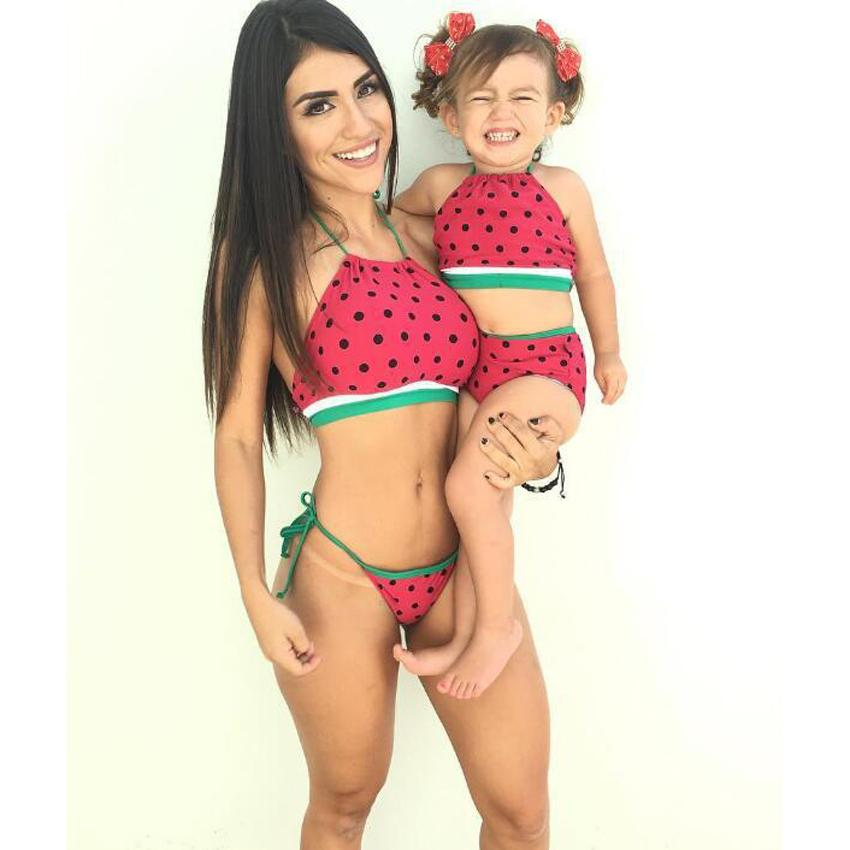 01a1e88b2f7b9 Women Swimsuit Mommy And Me Beach Wear Girls Bikini Family Look Sling Mother  Daughter Women Swimwear Watermelon Clothes Matching Mother Baby Pajamas ...