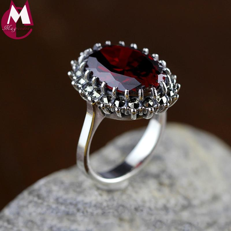 0ddb1b684b65a Natural Red Garnet Gemstone Rings For Women 925 Sterling Silver Wedding  Rings Fine Jewelry Gifts Vintage Ruby Red Stone SR52