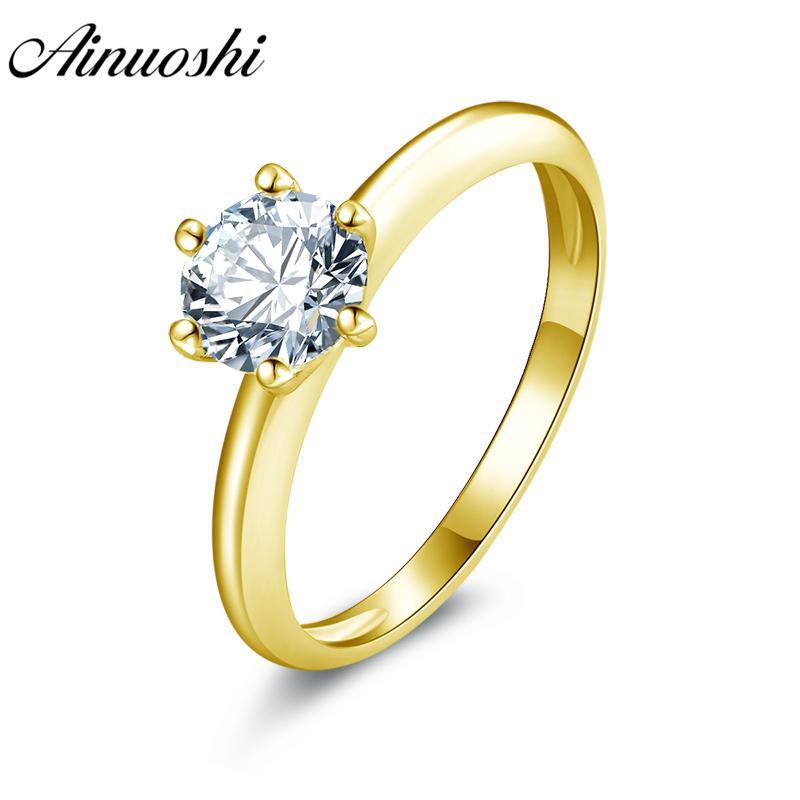 e0291c4248ad Compre AINUOSHI 10k Anillo De Boda De Oro Amarillo Sólido 0.8ct Amante  Promesa Banda De Compromiso Solitario Anillos De Boda Nupciales Con  Diamantes ...