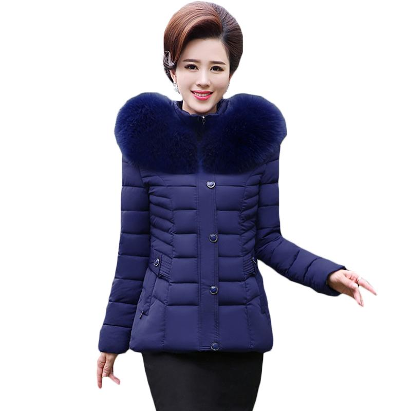 7ec98b67b75 2019 Women Autumn Winter Short Cotton Jacket Plus Size Women S Slim Large  Fur Collar Hooded Parka Outerwear For Middle Aged Mom XH717 From Caeley