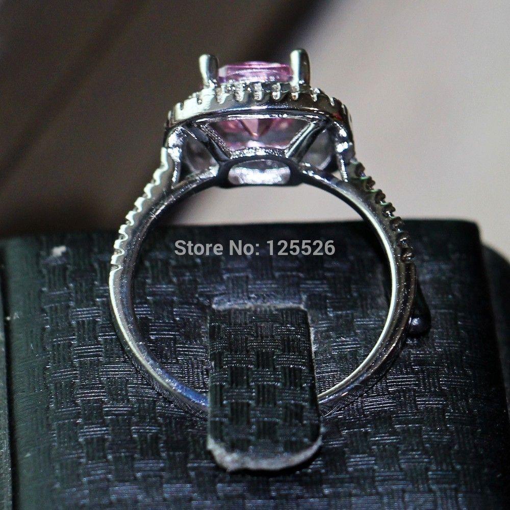 choucong 8mm Pink Cz 925 Sterling Silver Women Fidanzamento Wedding Band Ring formato USA 5-11 regalo