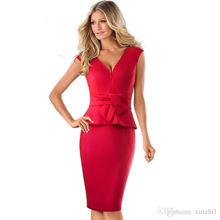 b43f183e39 Western Style Empire Dresses Bodycon Summer Women Clothing Cotton Blend Good  Quality Sexy V Neck Sleeveless Sheath Dress Red Short Sleeves Dress Of  Women ...