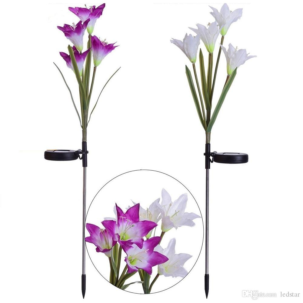 Outdoor Solar Garden Stake Lights Solar Powered Lights with 4 Lily Flower Multi-color Changing LED Solar Decorative Light for Garden Patio