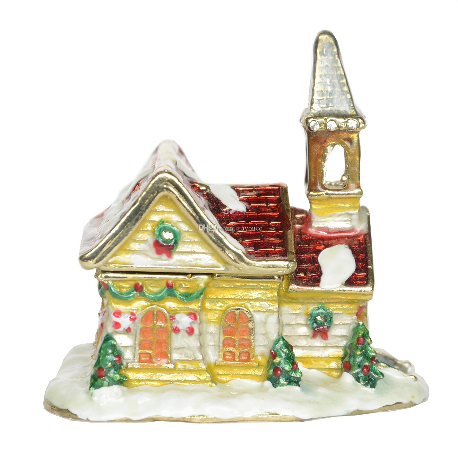 Christmas light house bejeweled trinket Box metal crafts Ring necklace Earring/Pendant Box small Jewelry Box