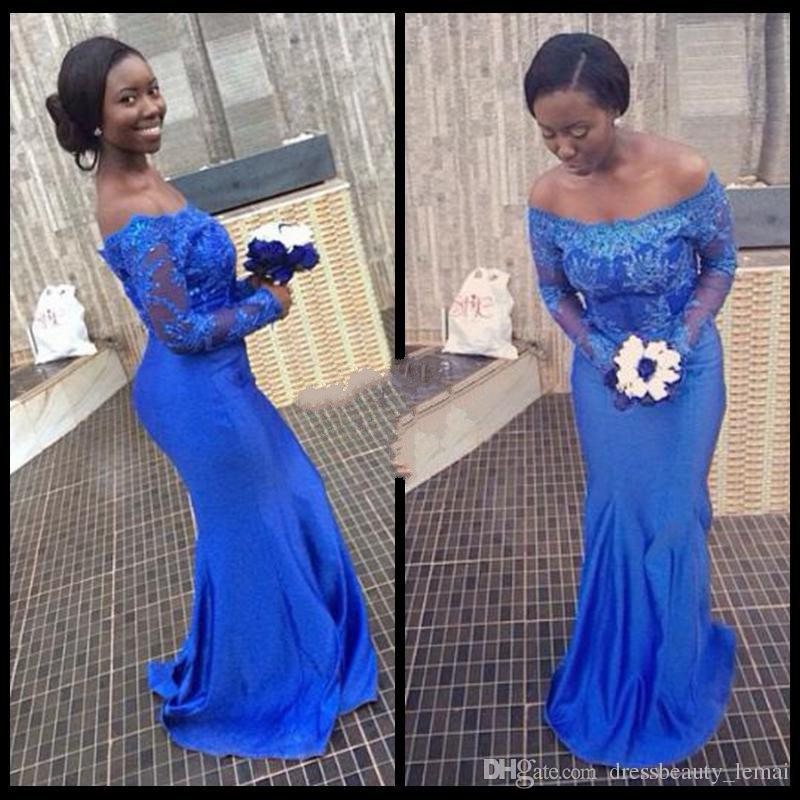 2018 New Prom Gowns Royal Blue Lace Mermaid Evening Dresses Nigerian Off Shoulder Long Porm Dress Long Sleeve Formal Party Gowns