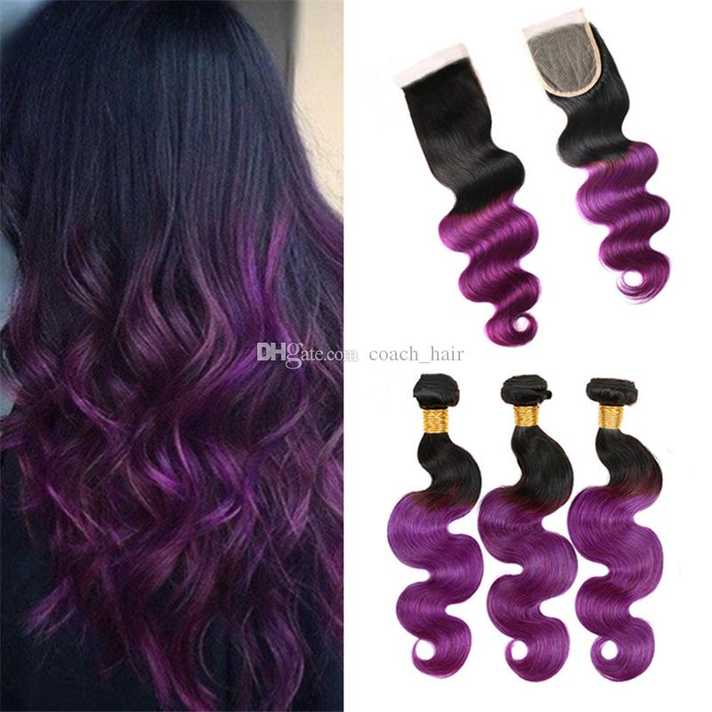 2018 Two Tone 1b Purple Ombre Indian Virgin Hair Body Wave Weaves 3