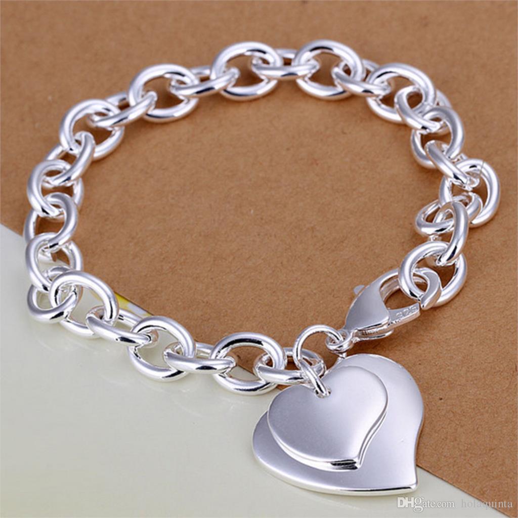 925 argent sterling plaqué bijoux de mode à double bracelets coeur exquis cadeaux de Noël