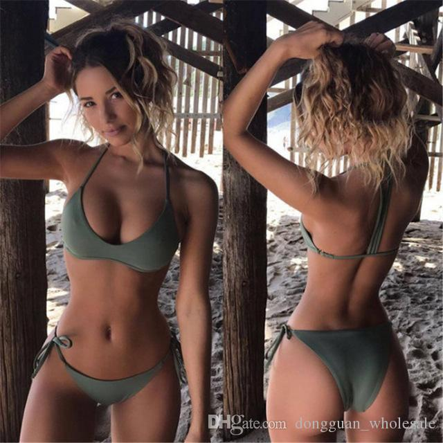 Halter Sexy Bikini Push Up Swimsuit Halter Tank Swimwear Bathing Split Swimsuit Army Green Bikini Womens Swim Wear 2018