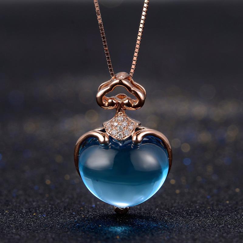 7f9287f7d8c5 Compre 7CT Océano Azul Topacio 18 K Oro Rosa Colgante De Diamantes Collar  Natural Diseño Del Corazón Regalo De San Valentín Joyería Fina Joya Colgante  A ...