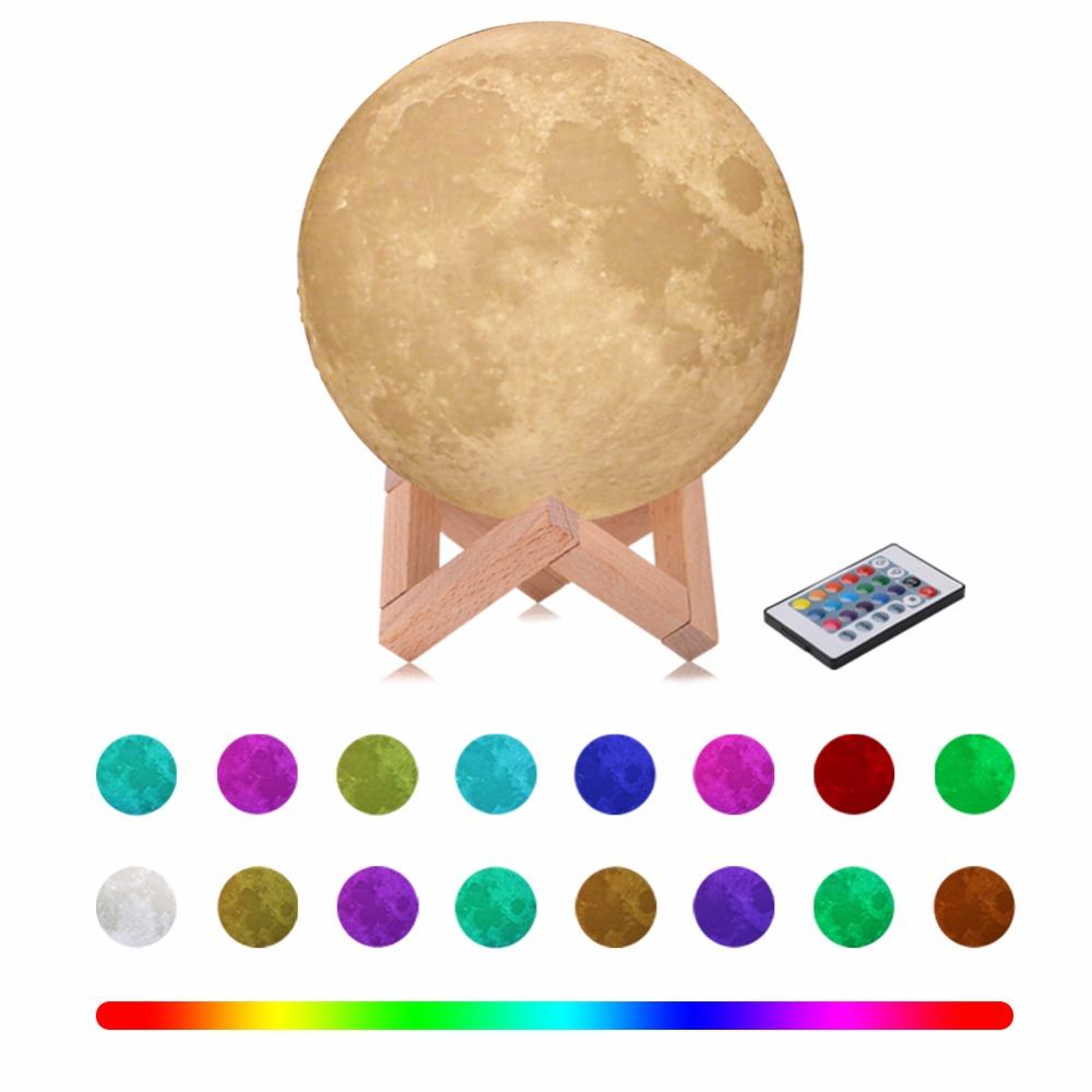 Bébé Light Pour Enfants Nouveauté Lampe 3d Noël Chambre Capteur Veilleuse Nuit Moon Led Tactile Télécommande Lune 9EDWH2IY