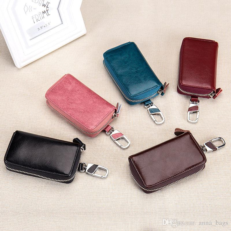 small bags for key men multi colors Multifunctional Large capacity smooth plain genuine leather zipper car key wallet