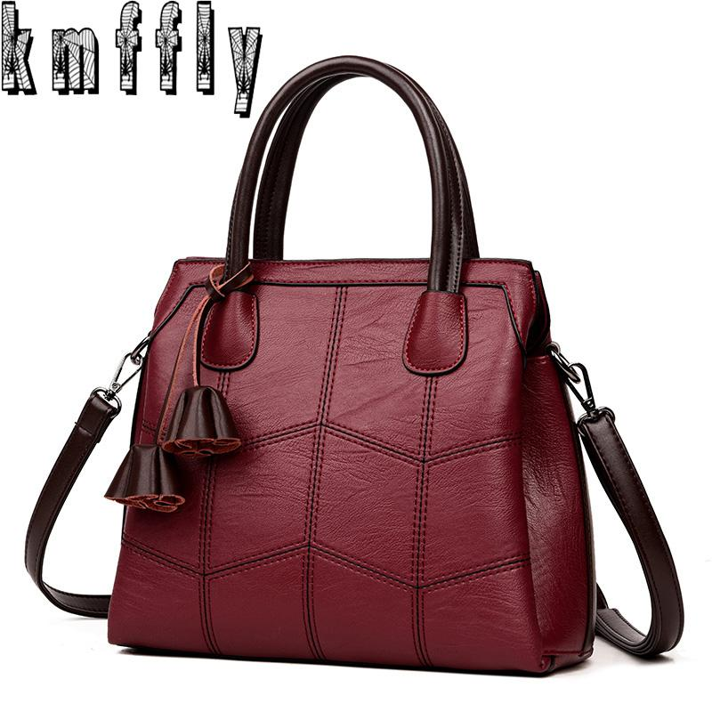 Cheap KMFFLY Brand Women Bags Genuine Leather Bags 2018 Fashion Women  Handbags High Quality Sheepskin Shoulder Ladies Sac A Main f71e8306643f6