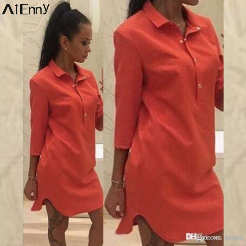 9e2fbe2392e 2019 Wholesale AIENNY 2017 Women Shirt Dress Long Tops Blouse Sexy Turn  Down Collar Curve Hem Short Party Dresses Casual Plus Size Vestidos From  Qainia