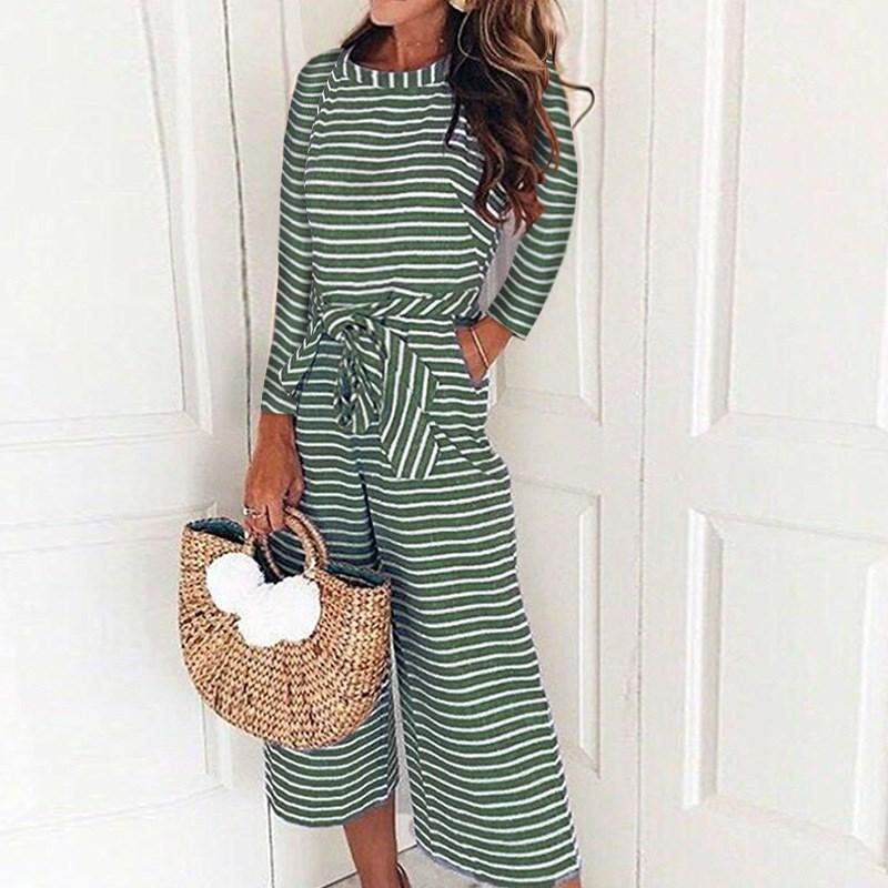 9a5c78c18a90 2019 Women Elegant Sexy Jumpsuits Casual Long Sleeve Striped Jumpsuit  Belted Overalls Loose Wide Leg Pants Rompers From Layette66