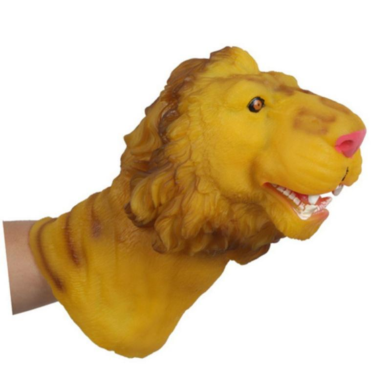 Soft Vinyl PVC Animal Head Figure Dinosaur Tiger Lion Cow & Dog Hand Puppet Gloves Children Baby Toy Model Gift High Quality