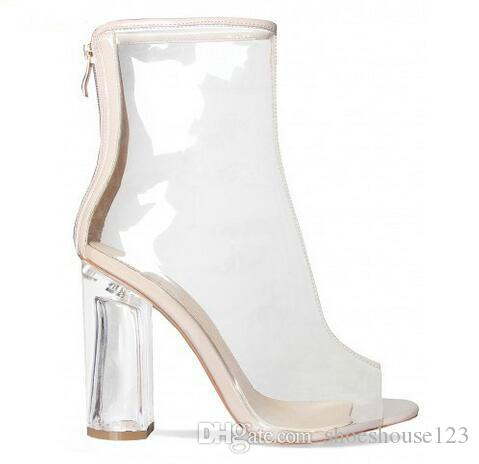 07e94cd48559 Transparent PVC Women Ankle Boots Kim Kardashian Style High Heels Women  Shoes Peep Toe Clear Block Heels Women Pumps Sexy Shoes Sandels From  Shoeshouse123