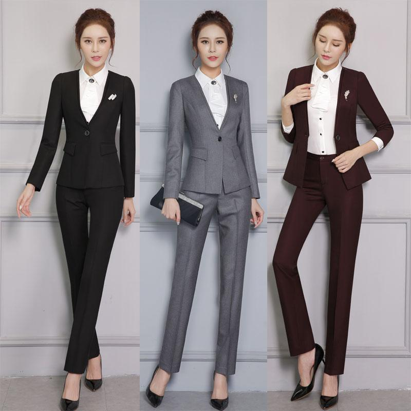 d4914544e7 2019 Spring Autumn Formal Uniform Styles Pantsuits For Business Women Work  Wear Professional Jackets And Pants Ladies Trousers Set From Matilian, ...