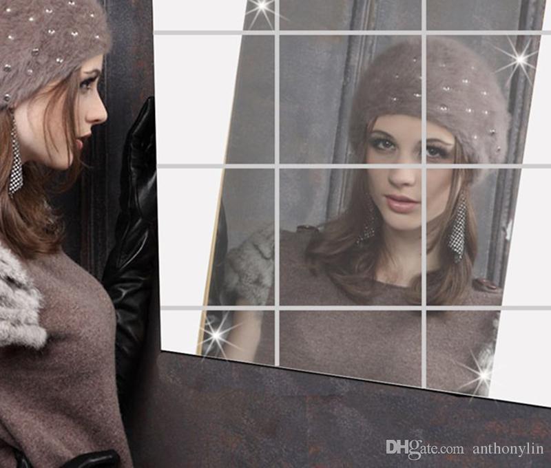 Nuovo arrivo di alta qualità 15 * 15 cm piastrelle quadrate specchio adesivi murali 3d decalcomania mosaico casa decorazione della stanza fai da te soggiorno portico