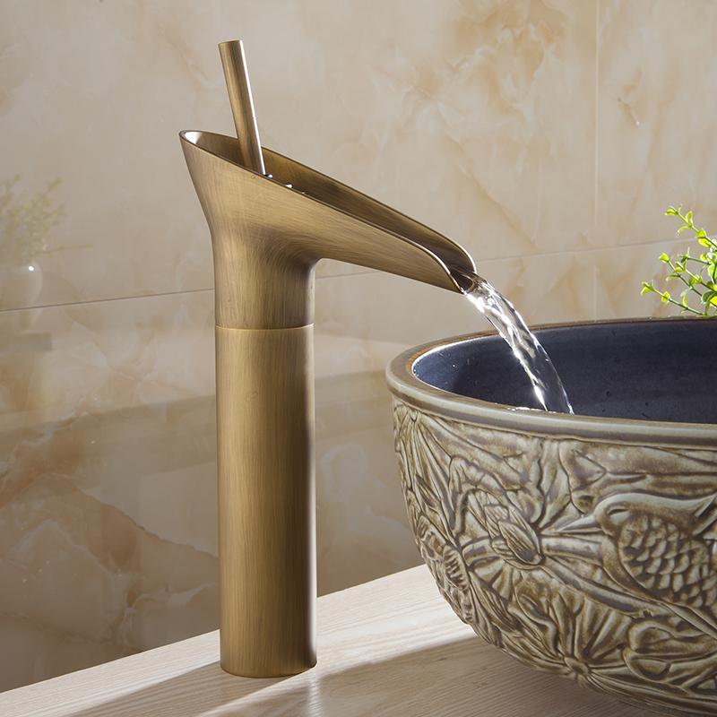2018 Basin Faucets Waterfall Bathroom Antique Faucet Single Handle ...