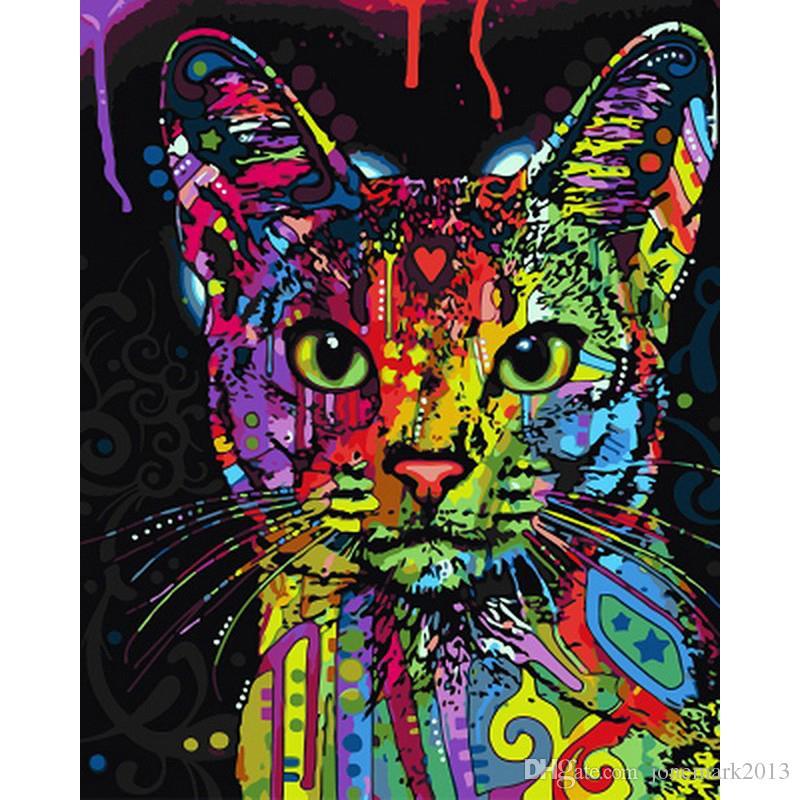 Satın Al Sayılarla Diy Resim Sergisi Soyut Renkli Kedi Hayvan Retro