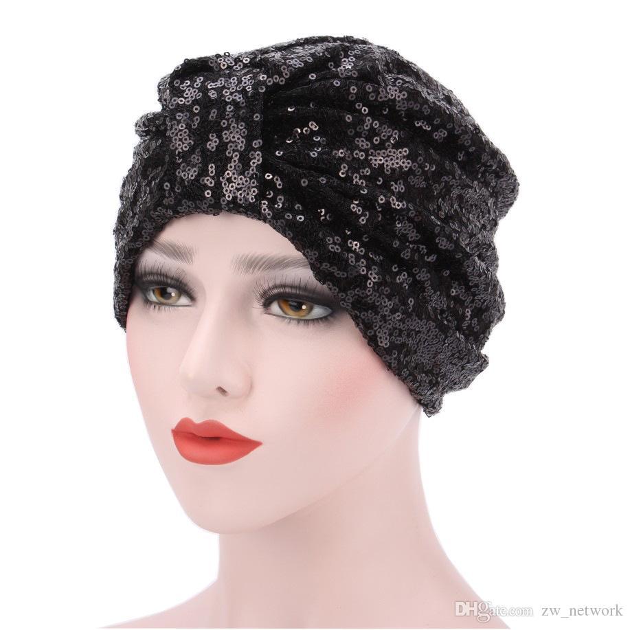 Nuove donne Paillettes Cappelli di turbante musulmano Cotone Morbido elastico Luminosità Stile indiano Berretti a fazzoletto Foulard Berretto di confinamento Cappello