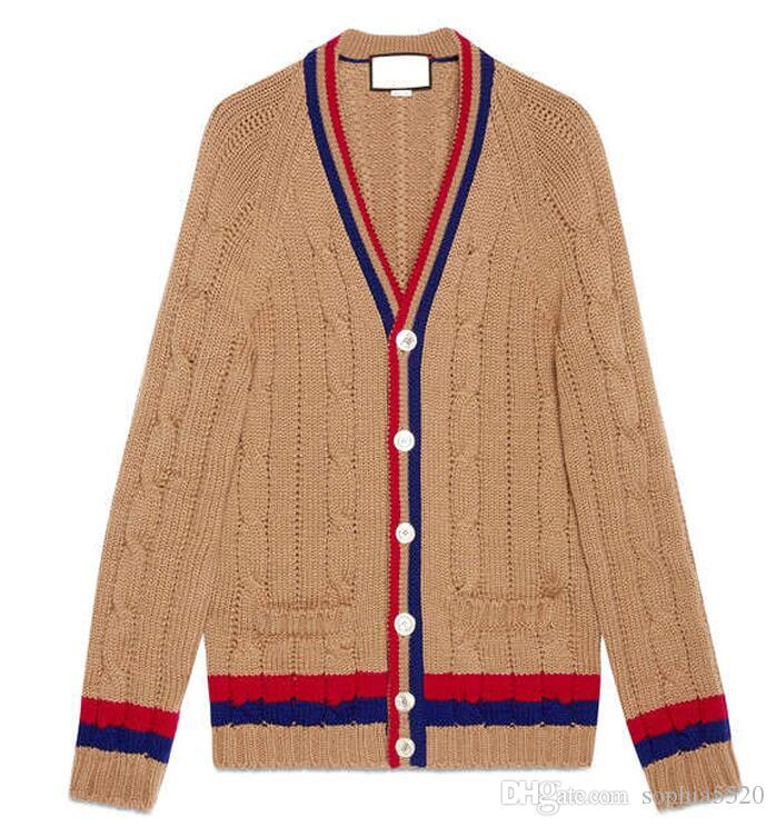 The spring of 2018 women new V collar cardigan hit color G star with a knitted sweater coat female side pockets