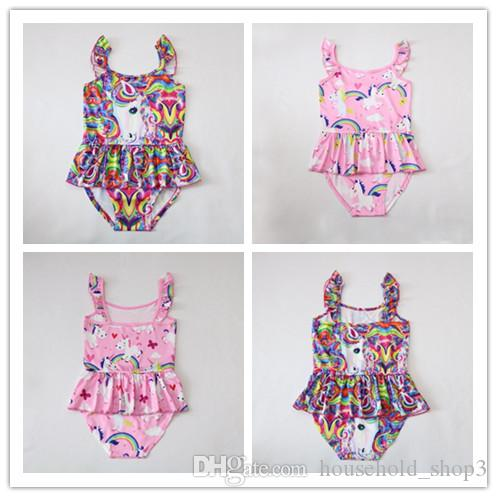 f4e85c2d66e83 Girl Cute Unicorn Swimwear Cartoon Swimsuit One Pieces Swimsuit For Girls  Summer Beachwear 3 8 Years 6 Styles UK 2019 From Household shop3