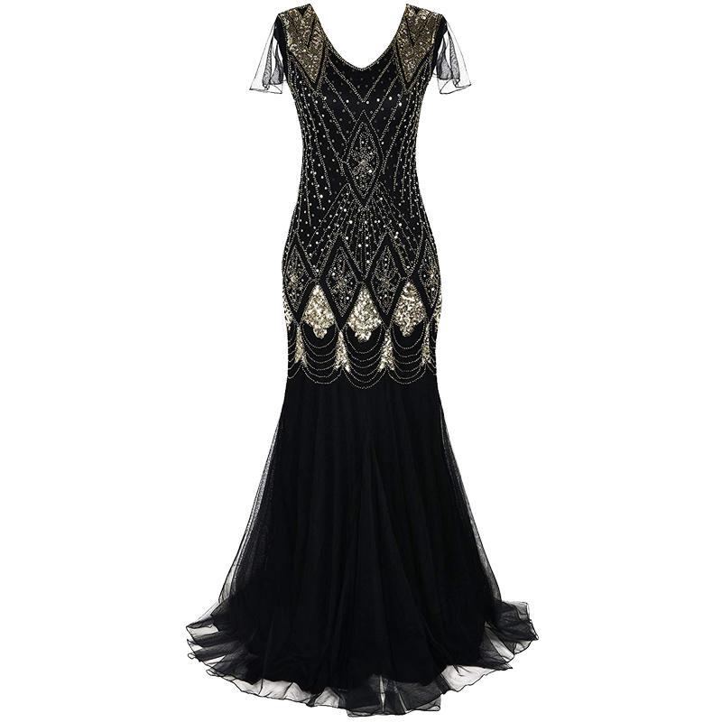 40e58fe6b Compre Las Mujeres 1920s Gran Vestido Gatsby Largo 20s Vestido De La Aleta  De La Vendimia Con Cuello En V Manga Corta Maxi Vestido De Fiesta Para Prom  ...