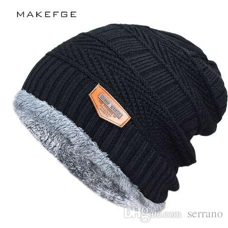 Men s Winter Hat Fashion Knitted Black Hats Fall Hat Thick And Warm ... 716f57cc8ab
