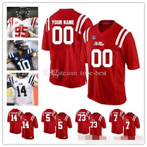 buy popular ddf27 cd2a4 Custom Ole Miss Rebels College Football red navy blue white Personalized  Stitched Any Name Number Manning Kelly #10 Ta amu Taamu Jerseys