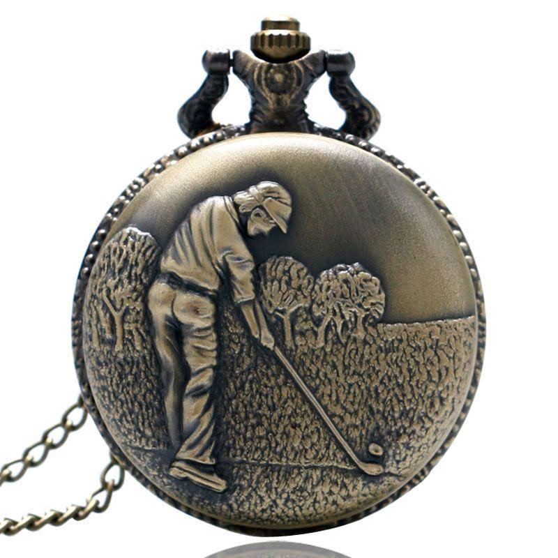 70076b118 Leisure Sport Theme Pocket Watch Bronze Golfing Carving Pendant ...