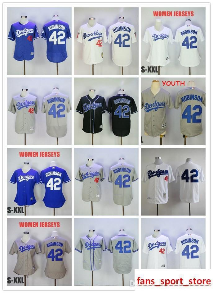 d251401d1 2019 Men S Ls As Dodgers  42 Jackie Robinson White Blue Cream Black Gray  Flexbase Coolbase 100% Stitched Baseball Jersey For Men Women UK 2019 From  ...