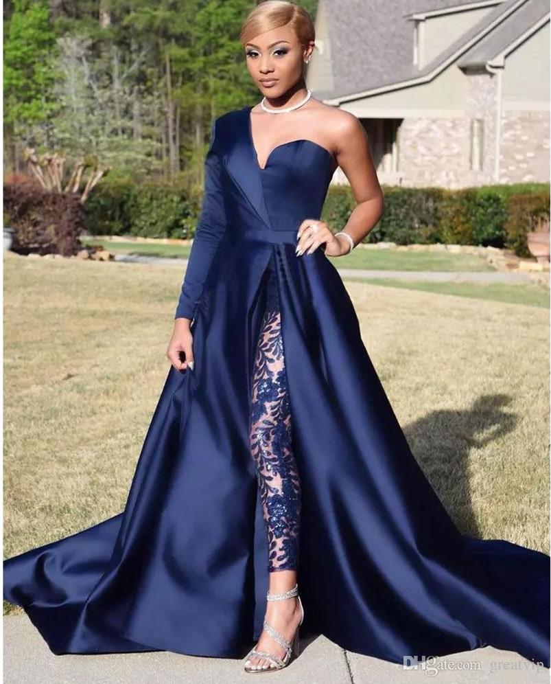 2019 Modest Blue Jumpsuits Vestidos de baile de dos piezas Un hombro Hombro Lado del frente Corte de costado Vestidos de noche Vestido de fiesta Tallas grandes Vestidos de soirée