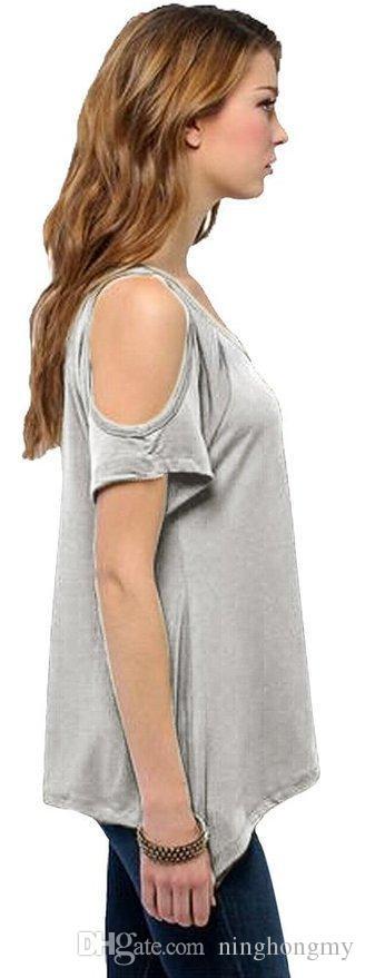 الجملة-أزياء المرأة الخامس الرقبة تي شيرت قمم ربيع جديد إمرأة مثير معطلة الكتف فضفاض غير النظامية هيم السيدات قمم الملابس تي شيرت