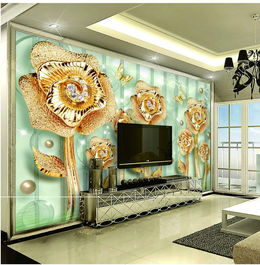 Custom Retail New Gold Jade Full House Luxury Jewelry Flower Interior Wall  Decoration Mural Custom Photo 3D Wallpaper Background Wall Online with ...