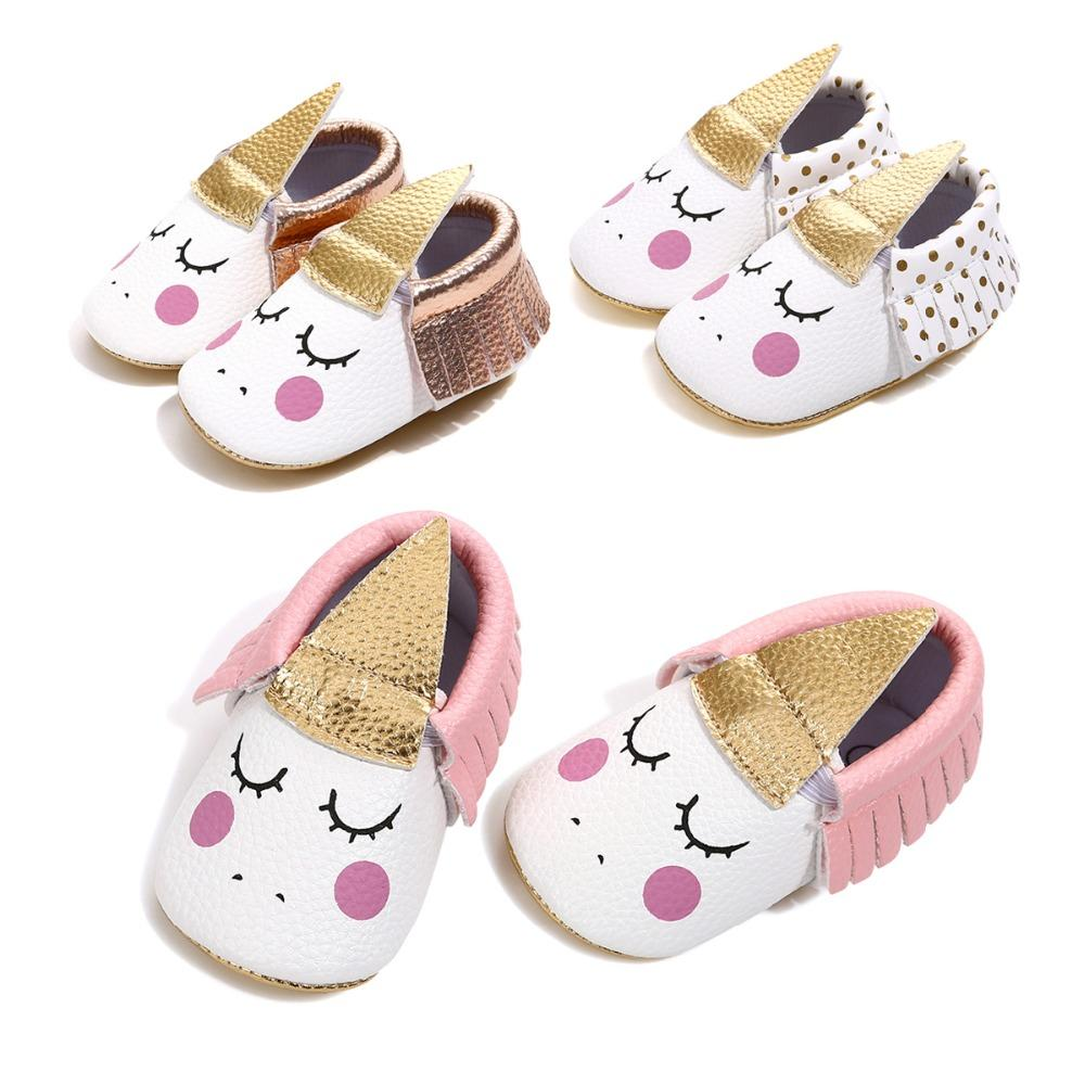 e77560db5 2019 2018 PU Leather Handmade Party Baby Girl Shoes Toddler Moccasins Blush  Angle Unicorn Baby Soft Sole First Walker Shoe 0 18 Month From Localking