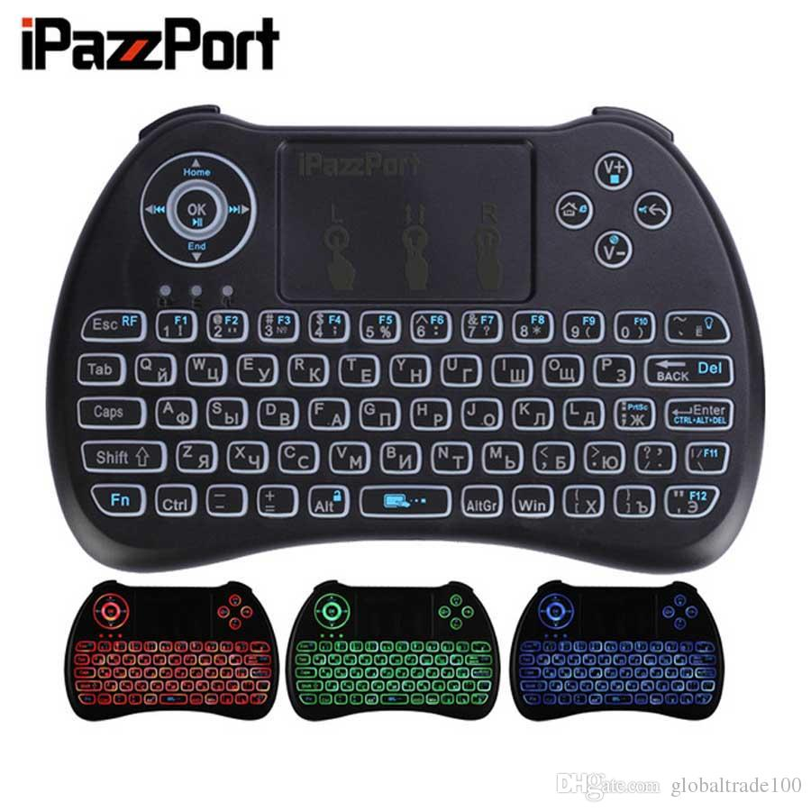 iPazzPort Russian French Spanish German 3 colours Backlight Wireless Mini  Keyboard Backlit Air Mouse for Android TV box/Raspberry Pi/ HTPC