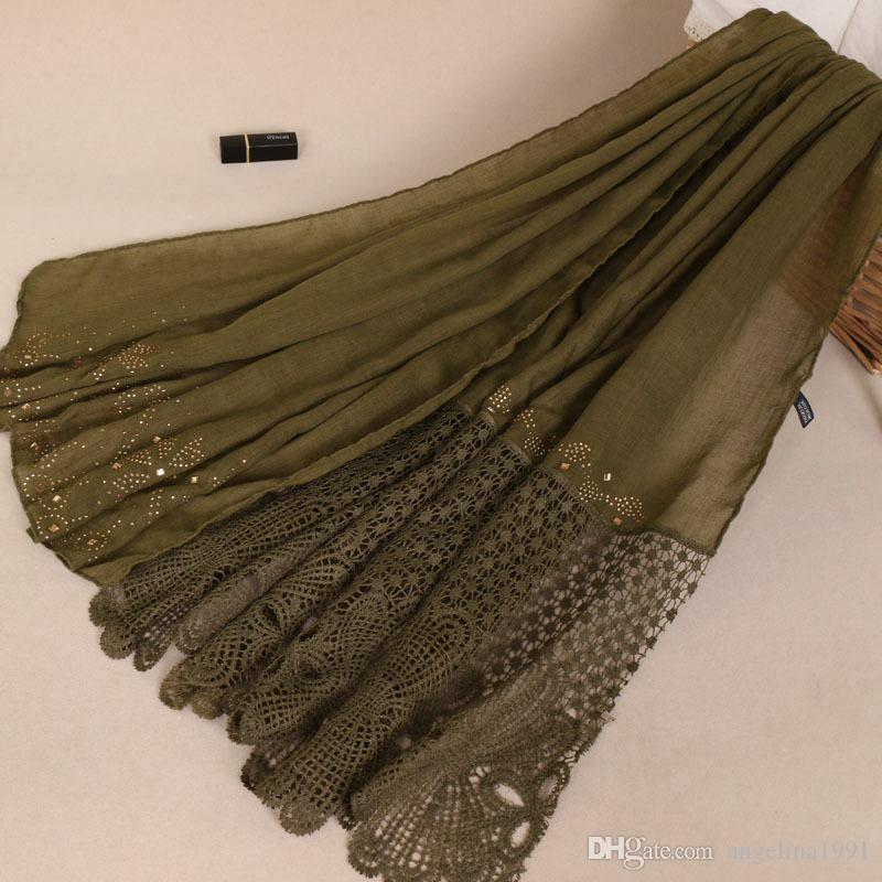 high quanlity cotton plain lace floral gold diamond glitter shawls hijab winter wrap headband scarves/scarf 200*70cm