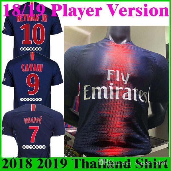7221b2d8da8 2019 Player Version 18 19 MBAPPE Soccer Jerseys NEYMAR JR DANI ALVES DI  MARIA Shirt 2018 2019 Home Blue VERRATTI CAVANI Maillot Football Shirts  From ...